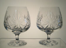 """STAR OF EDINBURGH CRYSTAL Brandy Snifters 5"""", SET of TWO, Signed"""