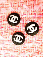 3 Three Authentic Chanel Buttons  lot of 3 pieces black white 💋💋💋