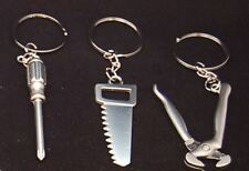 3x Tool Shaped Keychain, Keyring, Screwdriver, Saw, Pincers, Zinc Alloy