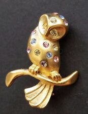 OWL Bird Lucky Colored Stones Nice Pin! Gold Polished Pin Brooch - Jewelry