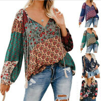 Summer women v neck long sleeve boho t-shirt tops beach bohemian blouse daily