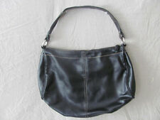 WOMEN'S LIZ CLAIBORNE PURSE HAND BAG HOBO BLACK LEATHER 13 X 10 SILVER ACCENTS