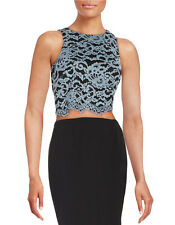 NWT $70 Ivanka Trump Lace Crop Top Size8 Black Gray Floral Scalloped Sleeveless