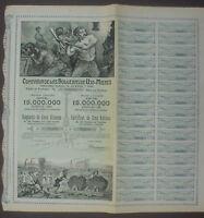 Comp. De Las Ujo - Mieres 5 Acciones 1904 uncancelled + coupons