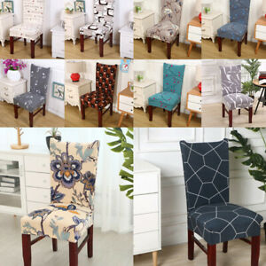 Flower Printed Geometric Chair Cover Spandex Chair Dining Seat Cover Home Decor