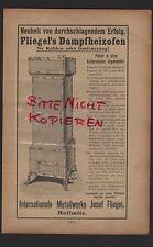 MALLMITZ, Werbung 1910, Internationale Metallwerke Josef Fliegel Dampfheizofen