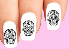 Waterslide Nail Decals Set of 20 - Day of the Dead Sugar Skull Black & Clear