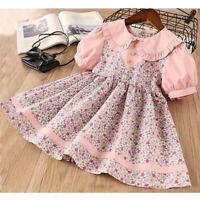 Toddler Baby Kids Girls Peter Pan Collar Floral Flowers Princess Dress Clothes
