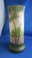 ancien vase tubulaire legras decor lacustre peint pate de verre