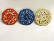 3- VINTAGE CLAY POKER CHIPS, PLAYING CARD EMBOSSED DESIGN FREE SHIPPING  I-1016