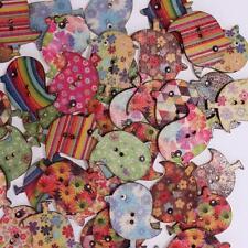 Boutons en Bois Vernis Oiseaux Multicolore - Lot de 10 : Scrapbooking Couture