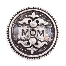MOM Rhinestone 20MM Anitique Silver Plated Interchangable Snap Button Charm NEW
