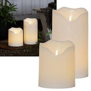 XXL Outdoor LED Kerze 3D FLAMME 20/30cm Ø16 mit TIMER für Balkon Garten flackend