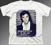 Elvis Presley King of Rock Jail photo white cotton printed tshirt OZ9352