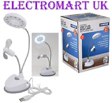 USB BATTERY POWERED LED DESK DESKTOP TABLE LAMP LIGHT MINI FAN