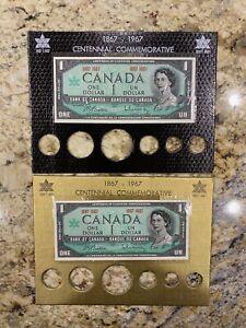 Lot of 2 1867-1967 Canada One Dollar Paper Bills Centennial Commemorative