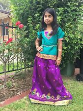 "24"" Age 3 To 5 Bollywood Kids Girls South Indian Silk Skirt Blouse Purple Green"