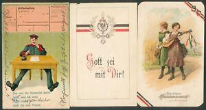 Deutsches Reich / Preußen 3 Farbkarten,1 x litho 1914, 1x Soldat am Tisch.......