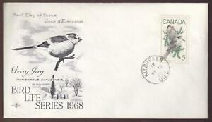 Canada FDC 1968 sc#478 Wildlife Gray Jay, Kitchener cancel, unadd Rosecraft