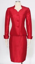 Le Suit Crimson Red Skirt Suit Size 14P Casual Satin Polyester Women's New*