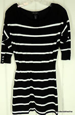 White House Black Market S Nautical Striped Stretch Knit Sweater Top NEW