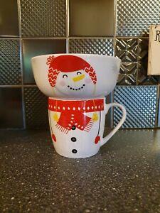 CHRISTMAS SNOWMAN STACKING BREAKFAST BOWL & MUG / CUP SET