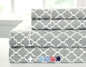 Twin XL Size Bed Sheet Set- Printed Meridian 100% Cotton Percale 3PC Sheet Sets