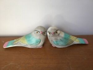 Wooden Hand painted Bird ornaments X2