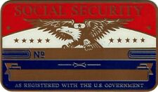 Large Vintage Brass Metal Social Security Id Card Red White Blue Blank Only