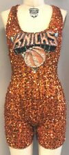 VINTAGE Knicks NBA PRO-CHEER/PRO-DANCE ORANGE SEQUINED BIKETARD COSTUME: Size M