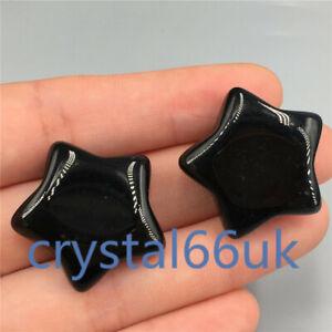 Natural obsidian star carved quartz crystal pentagram Healing 2pcs