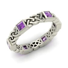 Certified Princess Cut Amethyst Celtic Knot Wedding Band Ring in 14k White Gold