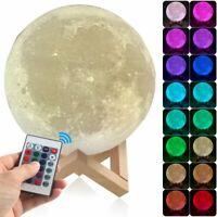 À Variation 3D Imprimé USB LED Brille Lune Veilleuse Lune Bureau Table Lampe