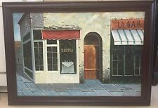 Large Oil On Canvas Signed S. Hefner Parisian Bistro Impressionist Painting