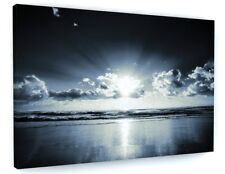 BLACK AND WHITE SUNSET CANVAS PICTURE PRINT WALL ART CHUNKY FRAME LARGE 982-2