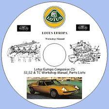 Lotus Europa Companion CD S1,S2 & TC Workshop Manual, Parts Lists