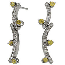 Antique Style Diamond And Yellow Sapphires Dangling Earrings In 14k White Gold