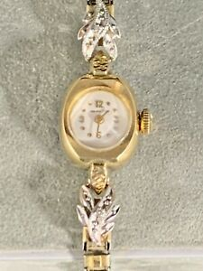 Stunning Hamilton 10k Yellow Gold Ladies Womans Watch with Original Velour Box