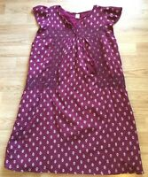 Old Navy Women's Dress Size S Burgundy Fully Lined Embroidered Cotton Tassel