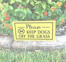 """2 signs 2 stands Keep Dogs Off The Grass no dog poop signs 12"""" X 6"""" yellow/blk"""