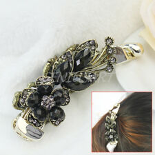 Lady Flower Rhinestone Acrylic Banana Ponytail Hair Clamp Barrette Grip Clip