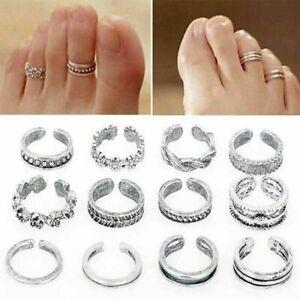 12x Zehenring Zehenringe Öffnen Ring Fußring Silber Fußschmuck Mode Fuß Schmuck