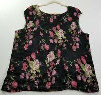 Fashion Bug Women Sleeveless Blouse Top 22 24W Plus Multicolor Floral Scoopneck