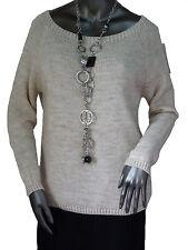 36-38-40-42-44 Strick Pullover Shirt Unterzieh-Pulli Wolle schlicht Grau+Beige