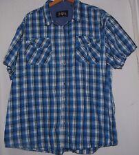 English Laundry Lions Crest Mens Western Plaid Shirt Blue White Checkered 3X