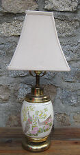 EXQUISITE VINTAGE PORCELAIN & BRASS CHINOISERIE PEACOCK TABLE LAMP/ FABRIC SHADE