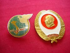 "2 Vietnam War Metal Pins: MAP OF VIETNAM + VC VETERANS CLUB  ""HOI CCBVN"""