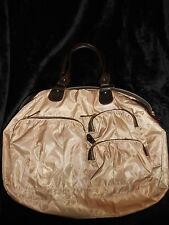 Carry On Duffle Bag Gold travel 12 H X 14 strap drop 10 lot of pockets handbag