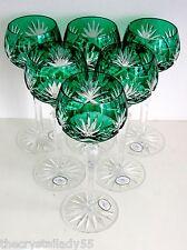 AJKA CAROLYNE  EMERALD GREEN  CASED CUT TO CLEAR CRYSTAL WINE GOBLETS Set of 6