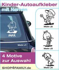 Kinder / Baby Auto Aufkleber mit Wunsch Namen für Junge in Wunschfarbe NEU